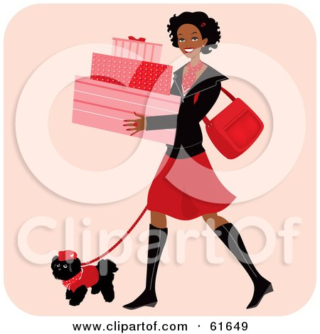 Royalty-free (RF) Clipart Illustration of a Happy African American Woman Carrying Boxes And Walking Her Dog While Shopping by Monica