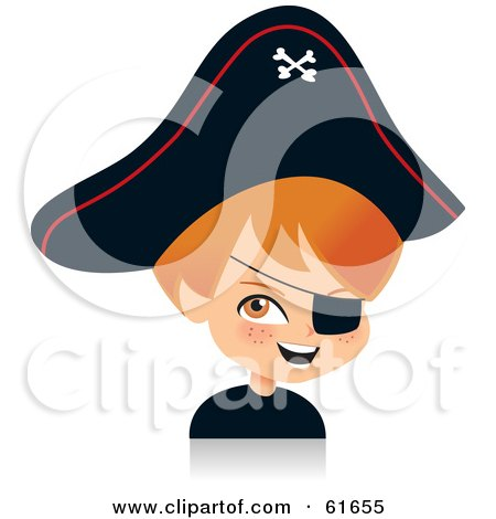 Royalty-free (RF) Clipart Illustration of a Cute Red Haired Boy Dressed As A Pirate For Halloween by Monica