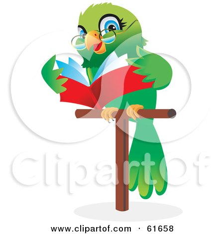 Royalty-free (RF) Clipart Illustration of a Green Parrot Wearing Glasses And Reading A Book While On A Perch by Monica