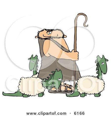 Caveman Shepherd Tending to His Wooly Dinosaurs Posters, Art Prints