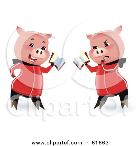 Royalty-free (RF) Clipart Illustration of a Reading Pig Holding A Book, Shown In Two Poses by Monica