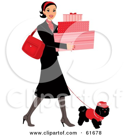 Royalty-free (RF) Clipart Illustration of a Young Lady Walking Her Dog While Shopping And Carrying Feminine Boxes by Monica