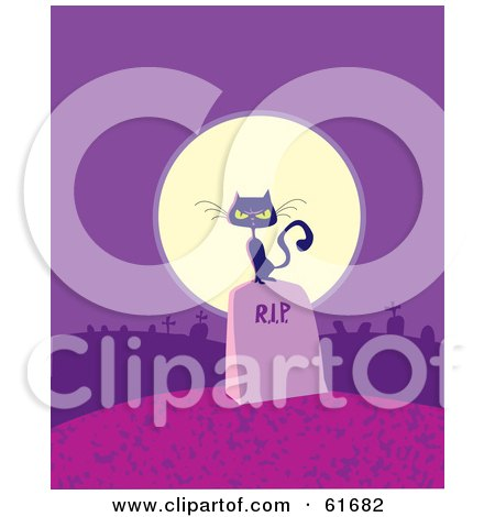 Royalty-free (RF) Clipart Illustration of a Black Cat On A Tombstone In Front Of A Full Moon On A Purple Night by Monica