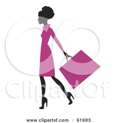 Royalty-free (RF) Clipart Illustration of a Silhouetted African American Woman In A Pink Dress, Carrying A Shopping Bag by Monica