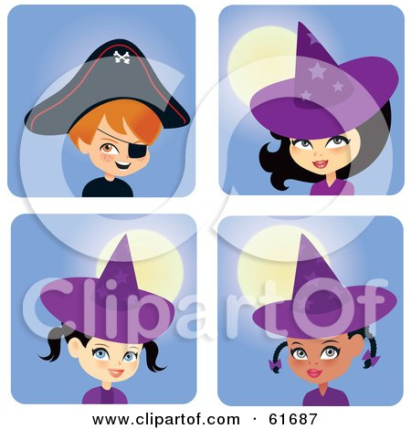 Royalty-free (RF) Clipart Illustration of a Digital Collage Of Halloween Boys In Girls In Witch And Pirate Costumes by Monica