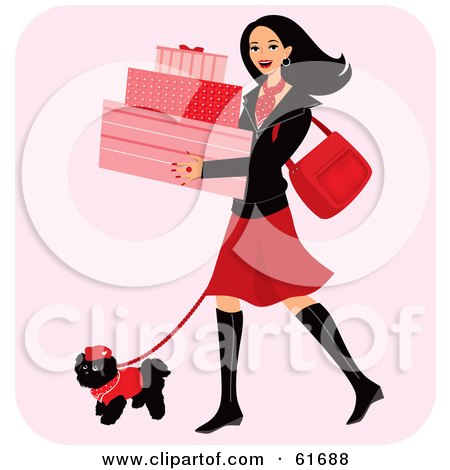 Royalty-free (RF) Clipart Illustration of a Happy Woman Carrying Boxes And Walking Her Dog While Shopping by Monica