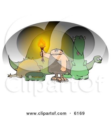 Caveman Holding a Torch in a Cave Full of Dinosaurs Clipart Picture by djart