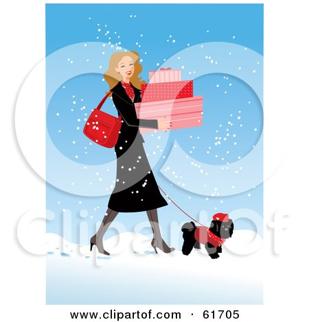 Royalty-free (RF) Clipart Illustration of a Pretty Woman Carrying Boxes And Walking Her Poodle In The Snow by Monica