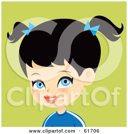 Royalty-free (RF) Clipart Illustration of a Blue Eyed, Black Haired Girl Wearing A Blue Shirt And Bows In Her Pig Tails by Monica