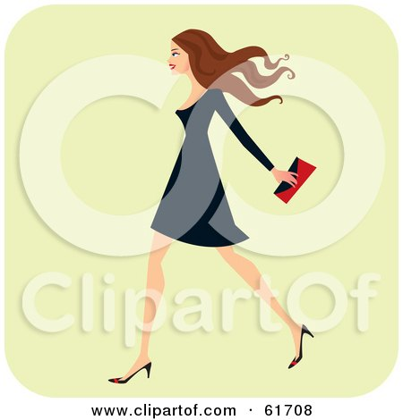 Royalty-free (RF) Clipart Illustration of a Fashionable Brunette Woman Walking And Carrying A Clutch Purse by Monica