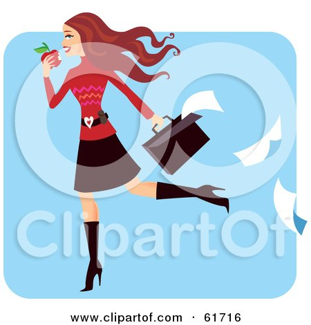 Royalty-free (RF) Clipart Illustration of a Late Young Businesswoman Eating An Apple And Dropping Paper Work From Her Briefcase