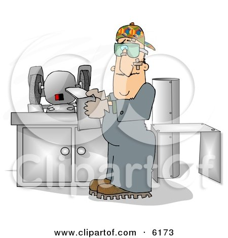 Sheet Metal Worker In A Fabrication Shop Clipart Picture