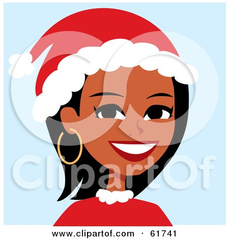 Royalty-free (RF) Clipart Illustration of a Friendly African American Woman Wearing A Santa Hat by Monica
