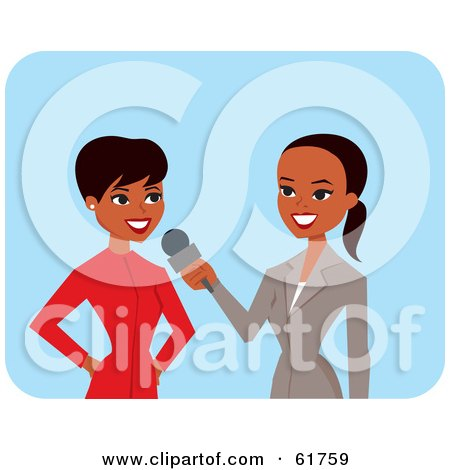 Royalty-free (RF) Clipart Illustration of a Friendly African American News Reporter Interviewing Another Woman by Monica