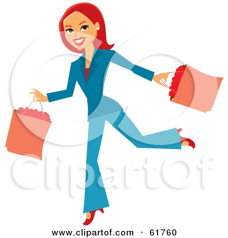 Royalty-free (RF) Clipart Illustration of a Running Redhead Woman Carrying Shopping Bags by Monica