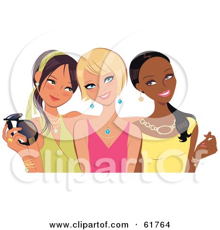 Royalty-free (RF) Clipart Illustration of Three Young Fashionable Diverse Girlfriends Posing And Smiling by Monica