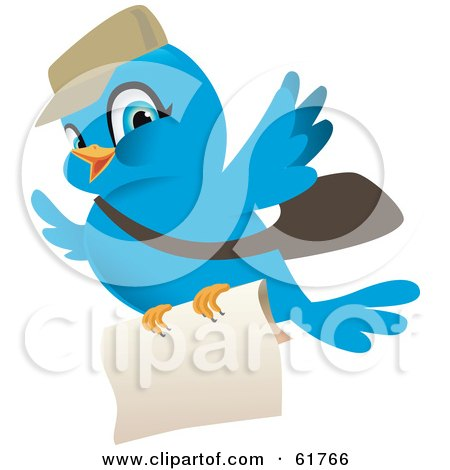 Royalty-free (RF) Clipart Illustration of a Blue Mail Delivery Bird Carrying A Letter by Monica