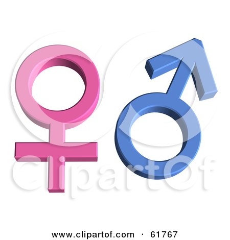 Royalty-free (RF) Clipart Illustration of 3d Pink And Blue Male And Female Gender Symbols by ShazamImages