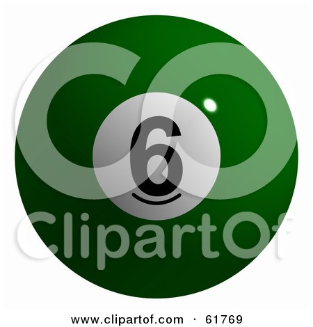 Royalty-free (RF) Clipart Illustration of a 3d Billiard Pool Ball; Solid Green 6 by ShazamImages