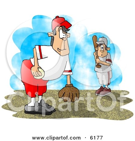 Little League Baseball Pitcher And Batter Clipart Picture