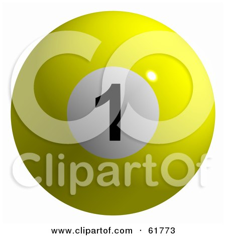 Royalty-free (RF) Clipart Illustration of a 3d Billiard Pool Ball; Solid Yellow 1 by ShazamImages