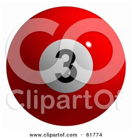 Royalty-free (RF) Clipart Illustration of a 3d Billiard Pool Ball; Solid Red 3 by ShazamImages