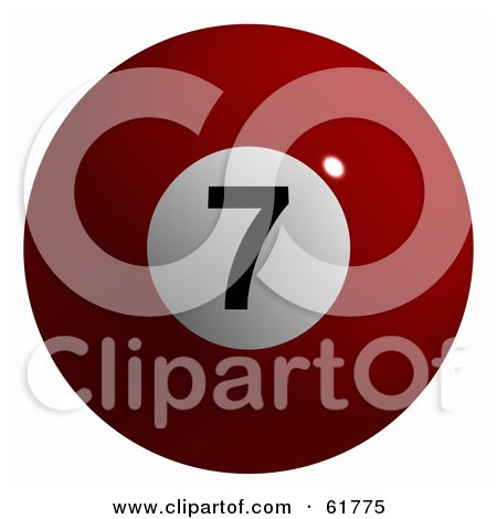Royalty-free (RF) Clipart Illustration of a 3d Billiard Pool Ball; Solid Red 7 by ShazamImages