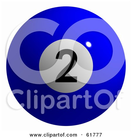 Royalty-free (RF) Clipart Illustration of a 3d Billiard Pool Ball; Solid Blue 2 by ShazamImages