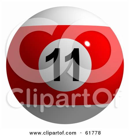Royalty-free (RF) Clipart Illustration of a 3d Billiard Pool Ball; Red Stripe 11 by ShazamImages