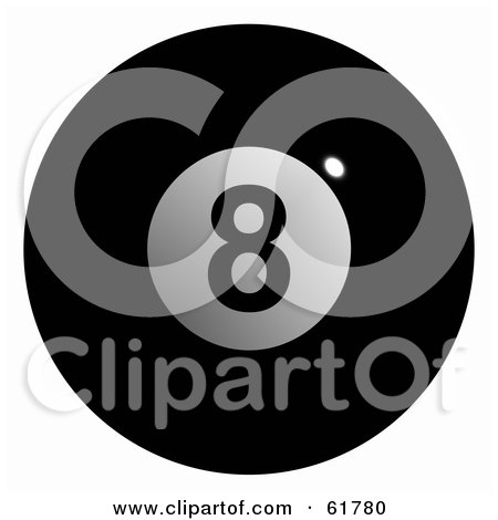 Royalty-free (RF) Clipart Illustration of a 3d Billiard Pool Ball; Solid Black 8 by ShazamImages