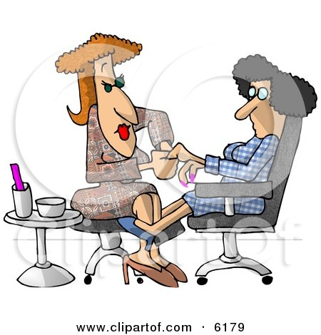 Woman Getting a Manicure at a Professional Nail Salon Business Clipart Picture by djart