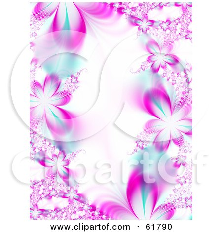Royalty-free (RF) Clipart Illustration of a Background Of Pink Flower Fractals With Blue Accents, Around White by ShazamImages