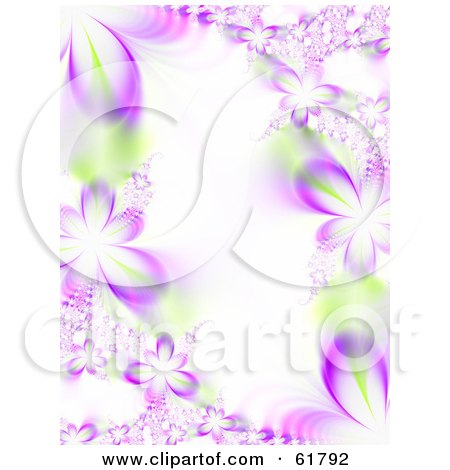 Royalty-free (RF) Clipart Illustration of a Vertical Background Of Purple Flower Fractals With Green Accents by ShazamImages