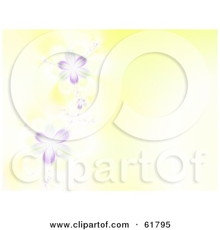 Royalty-free (RF) Clipart Illustration of a 3d Purple Spring Flower Fractal Background With Copyspace - Version 3 by ShazamImages