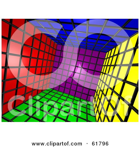 Royalty-free (RF) Clipart Illustration of a Tilted 3d Cubic Interior Of Colorful Squares - Version 1 by ShazamImages