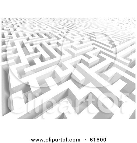 Royalty-free (RF) Clipart Illustration of a Confusing White 3d Maze Background - Version 3 by ShazamImages