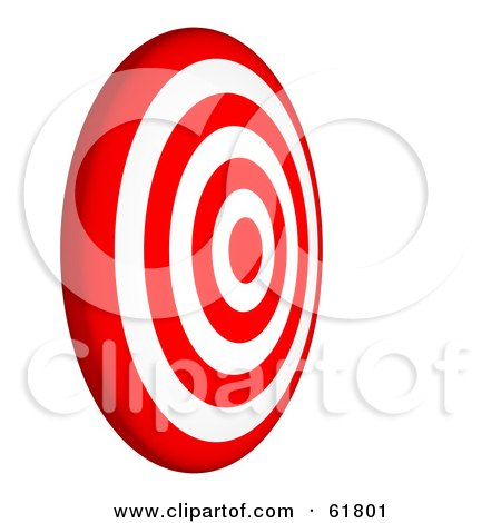 Royalty-free (RF) Clipart Illustration of a Side View Of A 3d Red And White 7 Ring Bullseye Target by ShazamImages