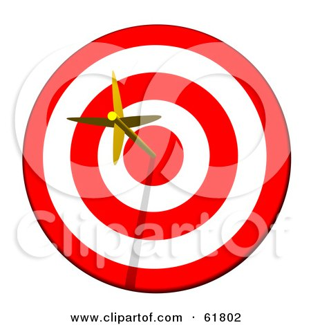 Royalty-free (RF) Clipart Illustration of a Golden Arrow Straight In The Bullseye On A Red And White Target by ShazamImages
