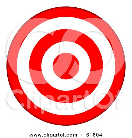 Royalty-free (RF) Clipart Illustration of a 3d Red And White 5 Ring Bullseye Target by ShazamImages