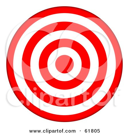 Royalty-free (RF) Clipart Illustration of a 3d Red And White 7 Ring Bullseye Target by ShazamImages