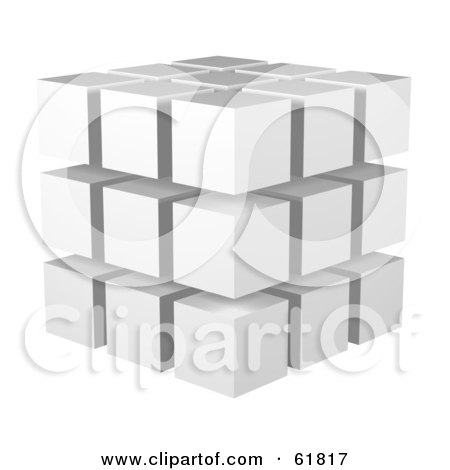 Royalty-free (RF) Clipart Illustration of White 3d Blocks Stacked In A 3x3x3 Configuration by ShazamImages