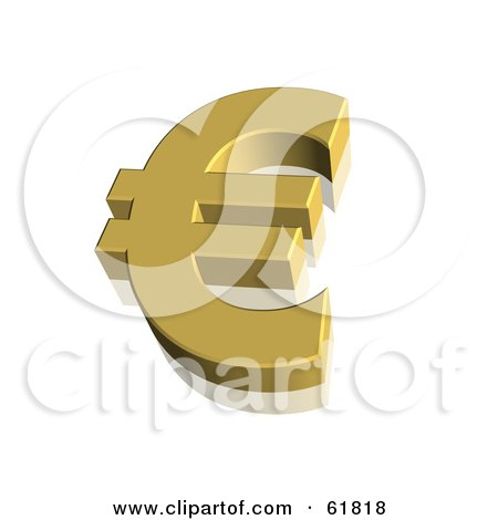 Royalty-free (RF) Clipart Illustration of a Gold 3d Euro Currency Symbol by ShazamImages