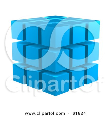 Royalty-free (RF) Clipart Illustration of Blue 3d Blocks Stacked In A 3x3x3 Configuration by ShazamImages