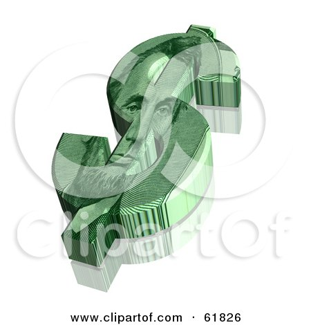 Royalty-free (RF) Clipart Illustration of a 3d Green Dollar Symbol With An Abraham Lincoln Design by ShazamImages
