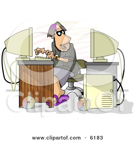 Male Programmer Trying to Hack Into Computer Clipart Picture by djart