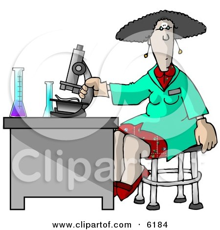 Female Scientist Using a Microscope in a Laboratory Clipart Picture by djart