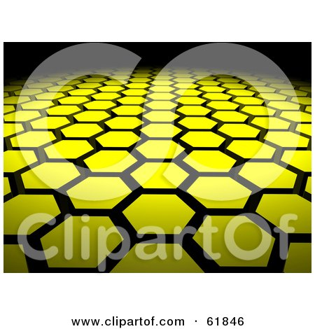 Royalty-free (RF) Clipart Illustration of a Background Of 3d Yellow Hexagon Tiles Arranged In Formation, Leading Off Into Blackness by ShazamImages