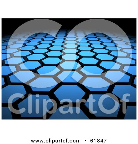 Royalty-free (RF) Clipart Illustration of a Background Of 3d Blue Hexagon Tiles Arranged In Formation, Leading Off Into Blackness by ShazamImages