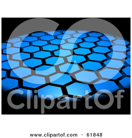 Royalty-free (RF) Clipart Illustration of a Background Of 3d Hexagon Tiles Surrounded By Blackness by ShazamImages