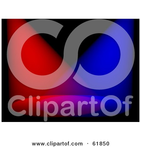 Royalty-free (RF) Clipart Illustration of Red And Blue 3d Stage Spot Lights Shining Down Through Blackness by ShazamImages
